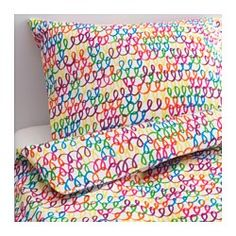 IKEA - STICKAT, Quilt cover and pillowcase, , Made from 100% cotton, a natural material that's soft against your child's skin and gets softer with every wash.You can easily combine the multicolour quilt cover with other textiles.