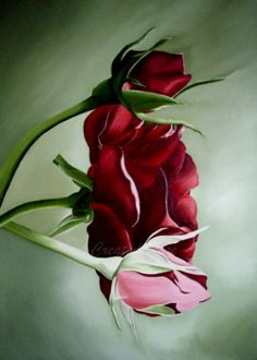 red rose flower painting print #etsy $9.95