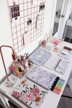 Modern home office room in marble texture and rose fold elements . can find Texture and more on our website.Modern home office r. Home Office Space, Home Office Design, Home Office Decor, Home Design, Office Ideas, Design Ideas, Interior Design, Office Style, Desk Office