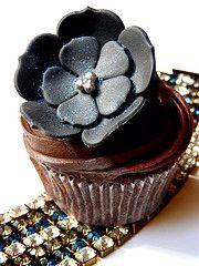 Chocolate Cupcake in black flowers and chocolate fudge buttercream swirl