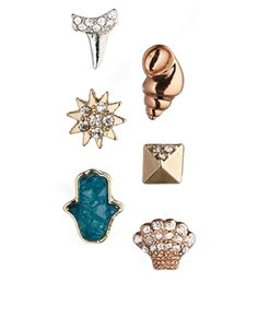 Rachel Roy Sea Charm Multipack Stud Earrings