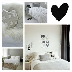 Bedroom color schemes. Blacks, whites and grays.