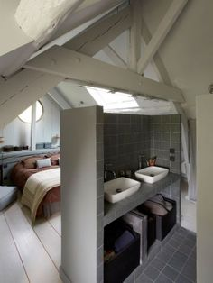 10 Charming Cool Tips: Attic Cinema Awesome attic playroom rock climbing.Attic Home Tiny House attic bedroom teenage.Attic Storage Built In. Attic Master Bedroom, Attic Bedroom Designs, Attic Bedrooms, Attic Design, Attic Bathroom, Bedroom Loft, Bathroom Grey, Design Bedroom, Attic Bedroom Decor
