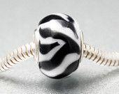 Zebra European Charm Bead, Animal Print, Black White, BHB, Designer Lampwork