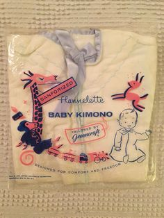 Vintage Baby Flannel Kimono Blue and White 1960's NIP by BlowingMilkBubbles on Etsy