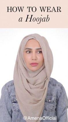 Hoojab Tutorial How to wear my signature Hoojab style! I designed the Hoojab for ease of styling and draped hijab l Hijab Turban Style, Mode Turban, Hijab Style Dress, Simple Hijab Tutorial, Hijab Style Tutorial, Pashmina Hijab Tutorial, How To Wear Hijab, Black Hijab, Hijab Trends