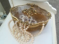 Vintage jewelry box, Ormolu jewelry casket, glass and gold case, ornate box by VintageSowles on Etsy