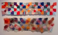 Forms of Arrangment: of surfeit, 2014 Found Leisure Suit Quilt Blocks, string painting