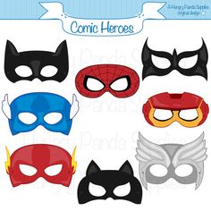 This listing is for (8) printable comic heroes mask JPG files that are in both a zip and PDF! All masks are ready to be printed, cut, and