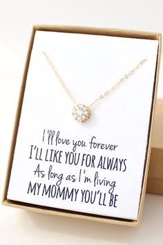 """I'll love you forever, I'll like you for always, as long as I'm living my mommy you'll be"" Necklace for mom"