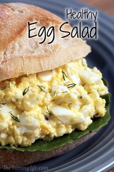Healthy Egg Salad using Greek yogurt. Perfect timing! I just hard boiled my eggs to make egg salad!