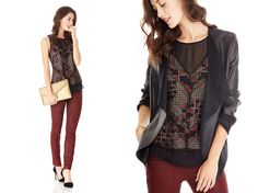 Stylist Tip: Try pairing modern lace-overlay with coated denim in a deep hue for your rebel within.