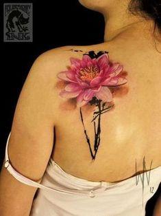 2017 trend Tattoo for the Modern Age- 43 Attractive Lotus Flower Tattoo Designs. Great Tattoos, Trendy Tattoos, Body Art Tattoos, Tattoos For Women, Lotusblume Tattoo, Tatoo Art, Back Tattoo, Wildflowers Tattoo, Catrina Tattoo