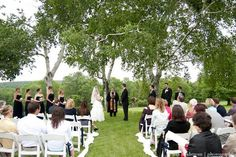 Wedding Ceremony under the birch trees at Candlelight Farms CT