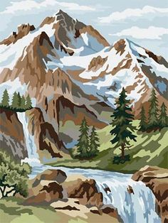 Trendy Vintage Landscape Art Paint By Number Ideas Paint By Number Vintage, Paint By Number Kits, Paint By Numbers, Art Projects For Teens, Cool Art Projects, Diy Projects, Landscape Art, Landscape Paintings, Mountain Landscape