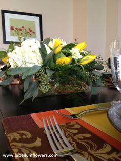Spring Birthday Flowers, white hydrangea, yellow tulips and daffodils