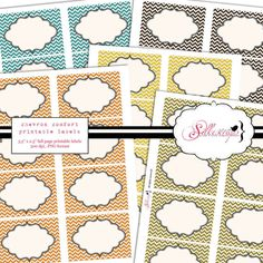 INSTANT DOWNLOAD Printable Labels / Cards  CHEVRON by silkescrap