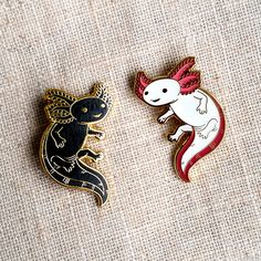 Axolotl Hard Enamel Pin Gold and Black Lapel Pin Cloisonné