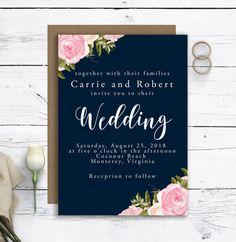 Printable Wedding Invitation Set, Wedding RSVP Cards, Wedding Save The Date Cards, Wedding Thank You Cards, Complete Custom Wedding Card Kit #navywedding #weddinginvitations