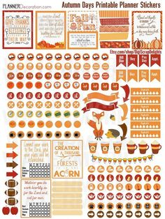 50% OFF TODAY Autumn Days Printable Planner Stickers Bundle Planner. Owls, Fox, Pumpkins, Weekend Banners, Titles, Icons and more