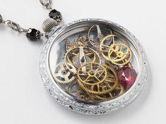 Steampunk Necklace vintage silver watch movement case gears gold dragonfly red gemstone black crystal clockwork locket Steampunk Nation 1819