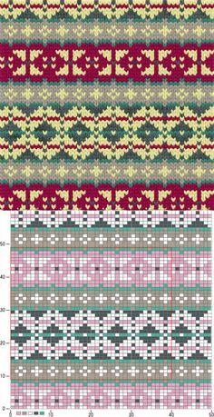 Bilderesultat for mamamatveyki Tejido Fair Isle, Punto Fair Isle, Motif Fair Isle, Fair Isle Chart, Fair Isle Pattern, Fair Isle Knitting Patterns, Knitting Charts, Loom Knitting, Knitting Stitches