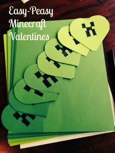 DIY Minecraft Valentines - I would make a poster board template for the face so he could color them himself. Valentine Tree, Kinder Valentines, Diy Valentines Cards, Valentine Day Boxes, Valentines For Boys, Valentines Day Party, Valentine Day Crafts, Valentine Ideas, Holiday Crafts