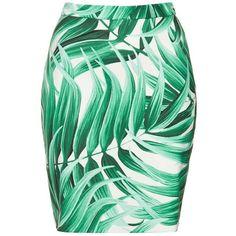 Tropical Leaf Print Pencil Skirt