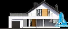 Proiect de casa cuparter, mansarda,garaj si terasa de vara-100802 | | Proiectari si Constructii Home Fashion, Garage Doors, Mansions, Architecture, House Styles, Outdoor Decor, Home Decor, Street, Arquitetura
