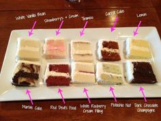 A selection of wedding cake flavors you may enjoy. Which do you prefer?