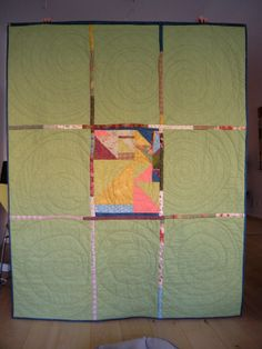 Modern quilt back at Quilts and Boxes: My quilt is up on my wall!