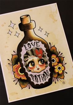 Hey, I found this really awesome Etsy listing at https://www.etsy.com/listing/209029106/love-potion-flapper-doll-11x14-tattoo