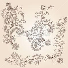 stock vector : Hand-Drawn Abstract Henna Mehndi Abstract Flowers and Vines Paisley Doodle Vector Illustration Design Elements Paisley Doodle, Paisley Drawing, Tattoo Henna, Henna Art, Mandala Tattoo, Arabic Henna, Henna Mandala, Sternum Tattoo, Diy Tattoo