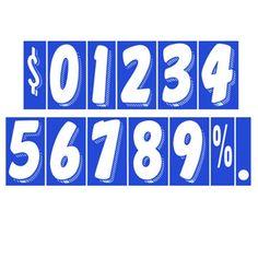 "CAR DEALER Window Number Stickers 7.5"" Vinyl 48 Dozen Windshield White Blue #CarLotPromotions"