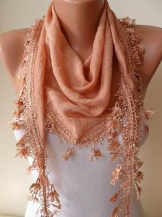 Amber Color Silky Scarf with Trim Edge by SwedishShop on Etsy