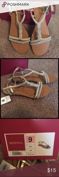 Elise Gold Sandals New Merona gold sandals with tags. Not good for someone with wide feet. Merona Shoes Sandals