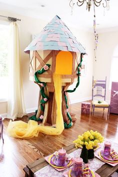 Rapunzel's tower from a Rapunzel Birthday Party on Kara's Party Ideas   KarasPartyIdeas.com (25)