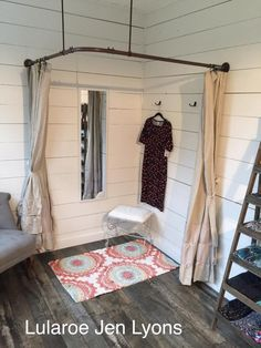 Country themed Lularoom - dressing room made out of electrical pipe material.