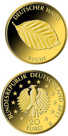 20 euro: Buche.Country:Germany Mintage year:2011 Issue date:23.06.2011 Face value:20 euro Diameter:17.50 mm Weight:3.89 g Alloy:Gold Quality:Proof Mintage:200,000 pc proof Mint:A,D,F,G,J Issue price:184,23 Euro
