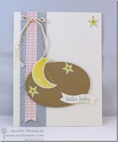 Sweet Hello Baby Card using All Abloom paper, Pictogram Punches, and Teeny Tiny wishes |  by Jennifer Blomquist - Northwest Stamper