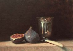 Still Life with Figs, Knife and Silver Goblet | A Still Life painting by British Artist Julian Merrow-Smith