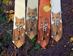 A stylish, handsome fox adorns this original tie. He's suave and sophisticated and wears a tweed jacket. He is the dapper fox. Fox Man, Der Gentleman, Fantastic Mr Fox, For Elise, Unique Gifts For Him, Pet Fox, Abraham Lincoln, Creations, Textiles