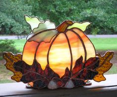 Autumn Harvest Stained Glass Tea Light Holder no. 2 Stained Glass Pumpkin Fall Candle Holder Halloween Candle Holder Pumpkin Tealight Holder by hobbymakers on Etsy Halloween Window Decorations, Halloween Candles, Mosaic Glass, Fused Glass, Glass Art, Stained Glass Projects, Stained Glass Patterns, Glass Pumpkins, Fall Pumpkins