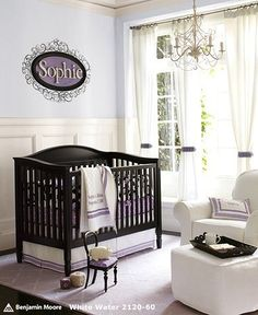 Fresh Floral Nursery | Pottery Barn Kids  Love the dark furniture and dark floor contrasted with light walls and accent pieces for a girls room