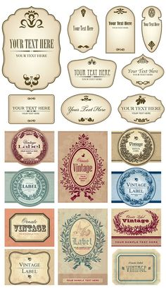 Buy vintage labels set (vector) by milalala on GraphicRiver. collection of vintage ornate labels; scalable and editable vector illustrations Jar Labels, Bottle Labels, Spice Labels, Printable Labels, Printables, Free Printable, Etiquette Vintage, Diy And Crafts, Paper Crafts