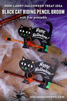 These adorable little black cats riding pencil brooms are such a fun way to dress up a decorative pencil and spider ring to create a super cute Halloween treat idea. Also, the black cats are a free printable download! They are a great non-candy, non-food
