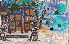 """my piece: """"Winter"""" collage, mixed media, watercolor and ink."""