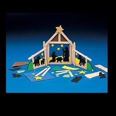 These are for purchase but I think the popstick stable would be easy to make for a nativity background this Christmas Christian Christmas Crafts, Childrens Christmas Crafts, Christmas Crafts For Kids To Make, Christmas Decorations To Make, Holiday Crafts, Popsicle Crafts, Craft Stick Crafts, Preschool Crafts, Craft Kits