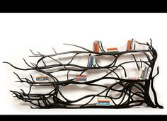 Book Shelf Design - Tree branch bookshelf designed by Sebastian Errazuriz. Tree Bookshelf, Bookshelf Design, Tree Shelf, Book Shelves, Book Storage, Bookshelf Ideas, Wooden Shelves, Black Bookshelf, Shelving Design