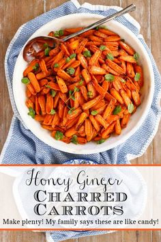 These fabulous carrots are lightly charred and sweetly glazed with honey, ginger, soy and a splash of chili garlic sauce. Make plenty as they're addictively delicious! #roastedcarrots, #honeyroastedcarrots, #easycarrots, #bestroastedcarrotrecipe Best Carrot Recipe, Carrot Recipes, Veggie Recipes, Vegetarian Recipes, Quinoa Sweet Potato, Salad With Sweet Potato, Honey And Soy Sauce, Chili Garlic Sauce, Thanksgiving Side Dishes